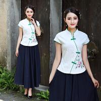 中国风新款绣花短袖旗袍上衣气质复古中式修身显瘦唐装女上衣茶服