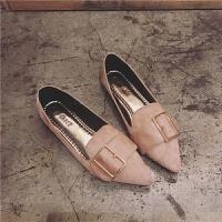 鞋子女2018四季单鞋韩版尖头平底鞋大码女鞋休闲鞋学生平跟豆豆鞋