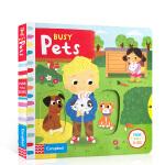 英文原版绘本 Busy Pets 忙碌的宠物 推拉转机关操作书 儿童启蒙英语玩具纸板书 亲子互动趣味认知童书 锻炼手指