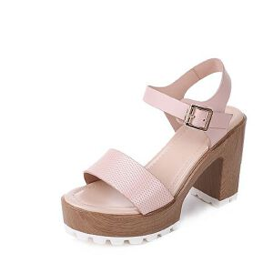 Tata/他她2017年夏季牛皮时尚压花高跟女皮凉鞋2W119BL7