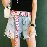 字母休闲帆布腰带男士双环扣皮带 青少年学生时尚腰带女潮流