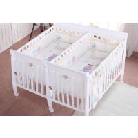 双胎婴儿床双胞胎婴儿床实木白色原木色宝宝双人床多功能带滚轮