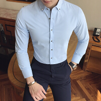 新款新郎伴郎打底修身衬衣纯色男装工装休闲长袖衬衫小个子S小码
