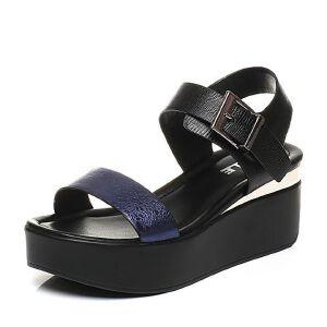 Belle/百丽2017夏季专柜同款牛皮坡跟一字带女凉鞋BKT35BL7