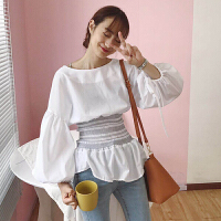 韩版女装2017秋季收腰泡泡灯笼袖小裙摆后背拉链明线装饰衬衫上衣 白色 均码 (160/84A)