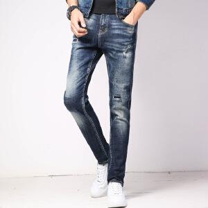 伯克龙 秋冬季新款加厚牛仔裤男士潮流直筒修身破洞补丁贴布牛仔长裤子休闲裤D636