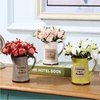 法式绢花玫瑰仿真花艺套装摆件 家居客厅餐桌创意陶瓷花瓶装饰品