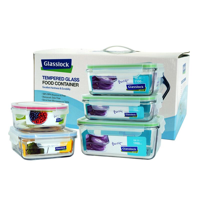 Glasslock 三光云彩钢化玻璃保鲜盒饭盒GL33-5B玻璃便当盒饭菜盒收纳盒5件套