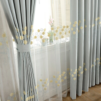 现代窗帘成品田园棉麻绣花客厅卧室遮光飘窗窗帘布落地窗