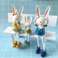田园家居装饰品一家三口吊脚娃娃树脂摆件可爱卡通人物装饰品家居工艺品婚庆生日礼物 爱心兔一家三口