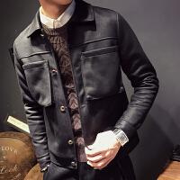 新款帅小码S码韩版修身绒皮夹克男士 韩个性流帅气麂皮绒外套外