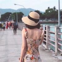 大热的一款手工编织拉菲草帽 蝴蝶结气质赫本风防晒帽 本色 黑色带子 M(56-58cm)