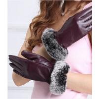 女士真皮手套韩版兔毛皮草整皮手套 保暖羊皮手套