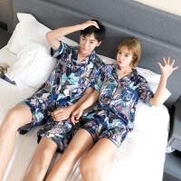 情侣睡衣女夏天冰丝短袖韩版男士睡衣夏季薄款女士家居服两件套装