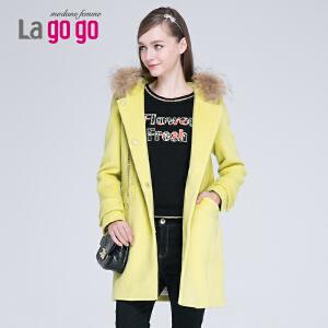lagogo拉谷谷冬季新款连帽毛领毛呢外套女大衣