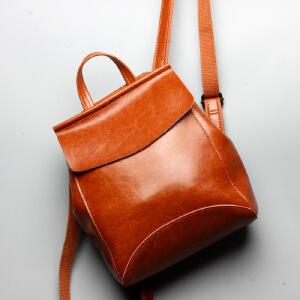 【春夏新品惠】油蜡牛皮双肩背包新款韩版时尚旅行背包大容量简约女包