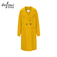 【商场同款】伊芙丽冬新款长款过膝毛呢外套羊毛双面呢大衣女