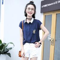 2018夏装新款女装短袖韩版卡通印花衬衫宽松学生休闲衬衣POLO上衣