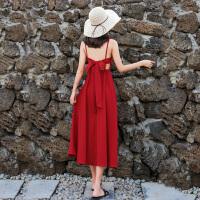 沙滩裙女夏海边度假长裙超仙小个子泰国红色露背雪纺吊带连衣裙子 XS 90斤以下