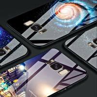 三星s8玻璃手机壳男女款s8plus个性创意note8防摔硅胶钢化硬壳潮