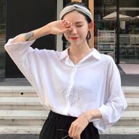 秋季新款复古chic风白色长袖衬衣+高腰中长款开叉半身裙两件套女 均码 (160/84A)