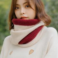 韩版冬季保暖百搭学生女毛线围脖套头加厚日系小清新原宿拼色针织