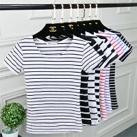 2018条纹t恤女短袖春夏季新款女装韩版修身上衣女短款打底衫