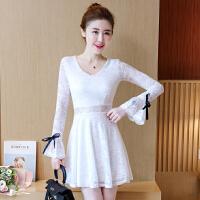 新款冬季白色蕾丝连衣裙长袖打底镂空喇叭袖修身显瘦a字裙女