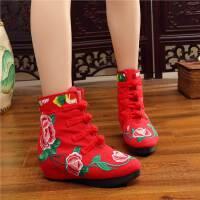 秋冬中国风复古刺绣盘扣布靴民族风绣花靴子流内增高短靴女鞋