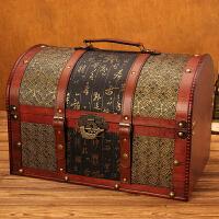欧式复古创意带锁木箱子储物箱收纳箱整理箱百宝箱
