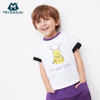 【8.19日2件3折价:29.7】迷你巴拉巴拉男童短袖T恤2019夏新品卡通趣味印花撞色圆领体恤