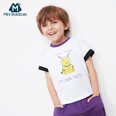 【满200减130】迷你巴拉巴拉男童短袖T恤2019夏新品卡通趣味印花撞色圆领体恤