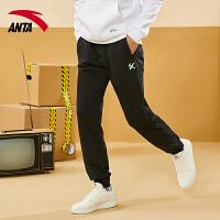 【到手价187】安踏运动裤男子2021夏季新款KT篮球系列收口针织长裤152121305