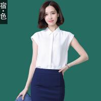 宿·色无袖雪纺衬衫女装衬衣夏季新款韩版纯色衬衫气质上衣雪纺衫