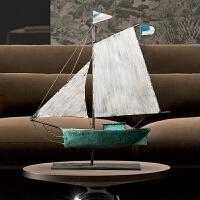 复古铁艺帆船摆件客厅酒柜电视柜装饰品创意家居一帆风顺摆设