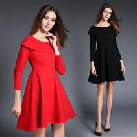 年新款秋冬装小礼服性感一字领修身连衣裙A型回门红色礼服裙
