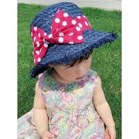 儿童帽子女夏蝴蝶结草帽遮阳帽太阳帽夏季出游公主帽沙滩帽