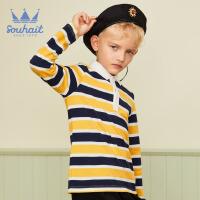 souhait水孩儿童装秋季新款男童长袖POLO衫时尚撞色条纹长袖POLO衫儿童POLO衫