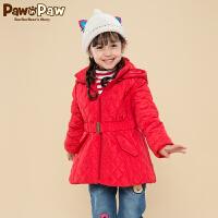 【3件2折 到手价:220】Pawinpaw宝英宝卡通小熊童装冬款女童棉服儿童连帽保暖外套可爱