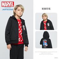 [618提前购专享价:90.9元]真维斯男童 秋装新款 漫威美国队长印花连帽卫衣外套