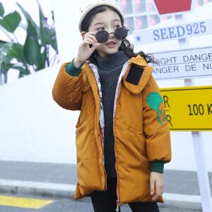 乌龟先森 棉服 女童中长款加厚卡通长袖连帽拉链衫冬季新款韩版儿童时尚休闲舒适百搭中大童棉服