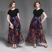 夏季女新款 黑色拼印花系�чL裙假�杉��B衣裙短袖高腰�Y服裙