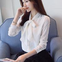 2018春季新款女装韩版立领宽松大码雪纺衫打底衫蝴蝶结衬衫女长袖