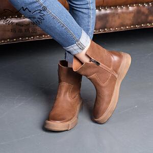 玛菲玛图2018平底马丁靴女复古风纯手工学生厚底短靴单靴女裸靴 M1981009T37S