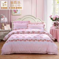 富安娜家纺 馨而乐清新田园风床上用品四件套 纯棉印花单双人床单被罩