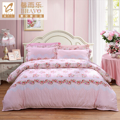 【年终盛典 限时秒杀】富安娜家纺 馨而乐清新田园风床上用品四件套 纯棉印花单双人床单被罩