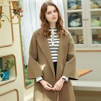 冬装新品 100%纯羊毛双面呢大衣宽松毛呢外套D746008D00