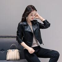 皮衣女短款外套韩版修身显瘦女士皮夹克仿绵羊皮高腰超短款小外套