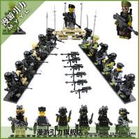 反恐城市警察 拼装积木玩具人仔军事武器男孩模型玩具