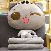 猫咪汽车抱枕被子两用 办公室午睡枕头毯子珊瑚绒空调被靠垫